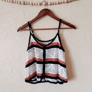 Forever 21 crochet knit crop tank top orange brown